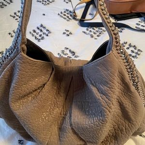 Taupe pebbled leather large hobo